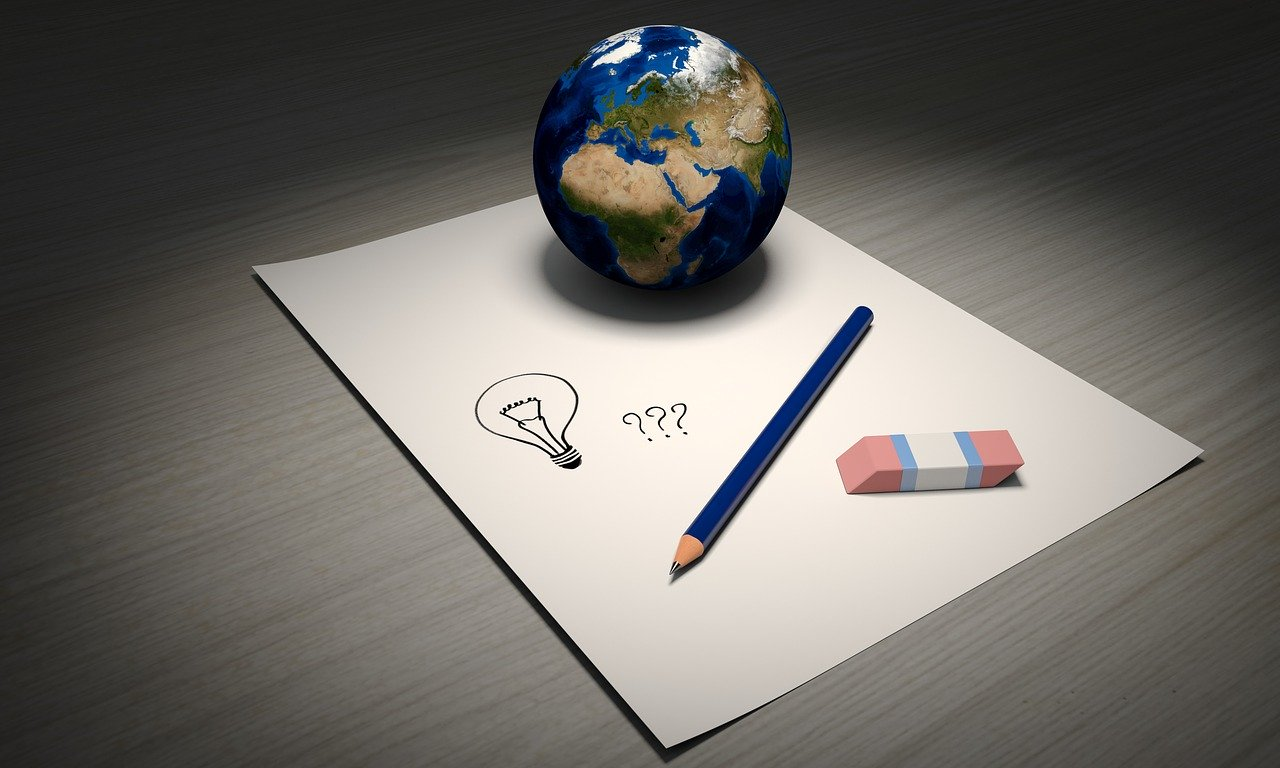 idea, world, pen